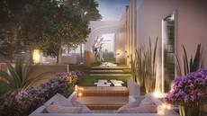 Jardim espaço com fonte