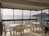 Apartamento frente mar - sacada com churrasqueira