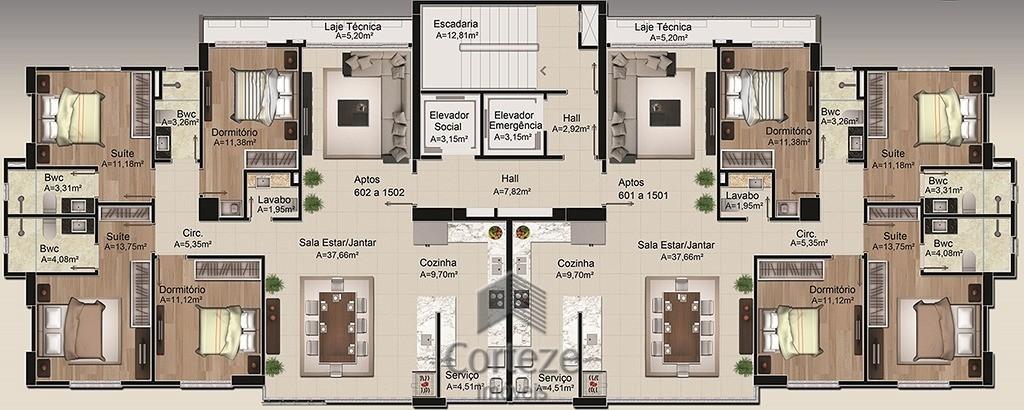 Apartamento 4 quartos no centro de Baln. Camboriu